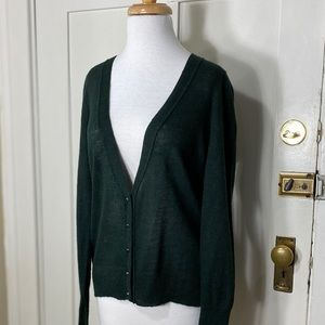 J. Crew light weight green alpaca Merino cardigan